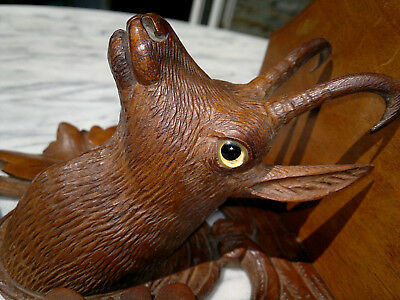 Antique Black Forest Carved Ibex-Chamois Wall Shelf with Glass Eyes
