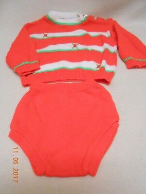adorable baby unisex red Soft Spun sweater outfit sz 18 months vintage style