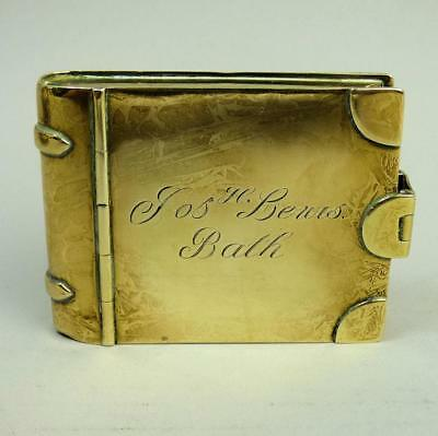 Antique Georgian Brass Large Snuff Box Of 'book' Form C.1820