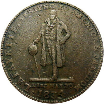 1834 Troy New York Hard Times Token Haskins Lafayette HT-361 Low 79