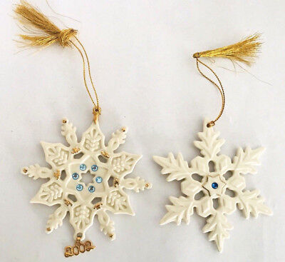 Lenox Merry Christmas Xmas Holiday Porcelain Snowflake Ornaments - Set of 2