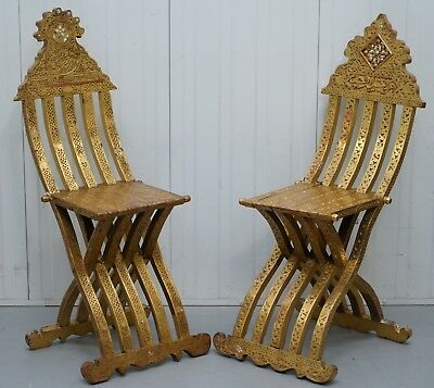 Rare Pair Of 19Th Century Anglo Syrian Gilt Wood Scribe Chairs Gold Leaf Painted