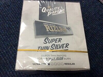Box of 50 Booklets Silver Rizla Kingsize Super Thin Rolling Cigarette Papers
