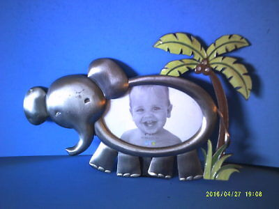 Free Standing Pewter Metal ? Elephant with Palm Tree Picture Frame