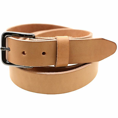 """Made In USA 1 3/8"""" Tan Harness Leather Belt Natural Edge Return Size 34"""