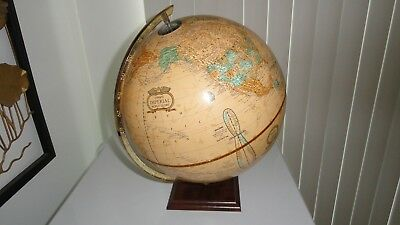 Vintage Cram's  Imperial World Globe 12 Inches   Wood Base Indianapolis USA made