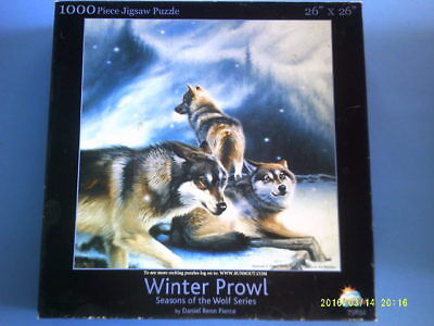 "1000 Piece Puzzle of Three Wolves Titled ""Winter Prowl"""