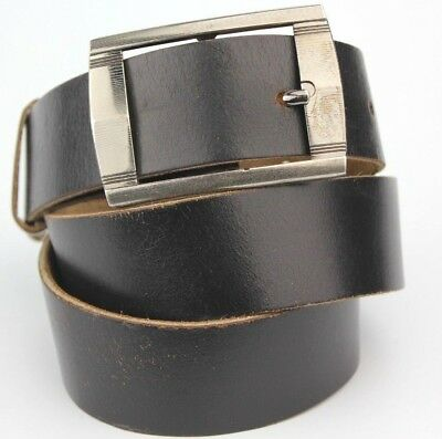 "Retro Vintage Apex Black Real Leather Thick Belt 37mm Wide Fits 32-34"" Waist"