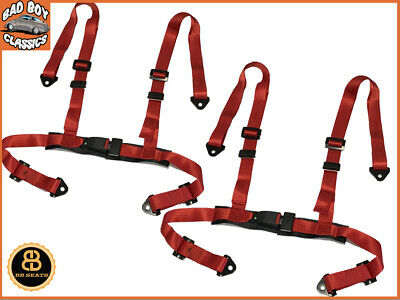 "Pair Racing Bucket Car Seat Belt Harnesses 4 Point RED Centre Buckle 2"" Straps"