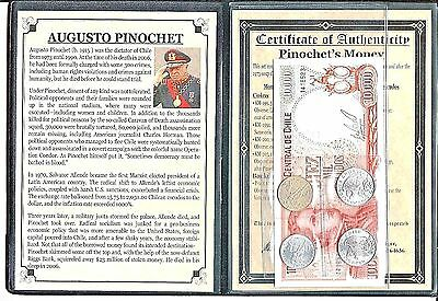 Chilean Dictator Augusto Pinochet Set Of 4 Coins &1 Banknote Album & Certificate