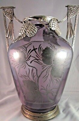 Antique French Art Nouveau Etched Améthyste Vase with Silver Overlay