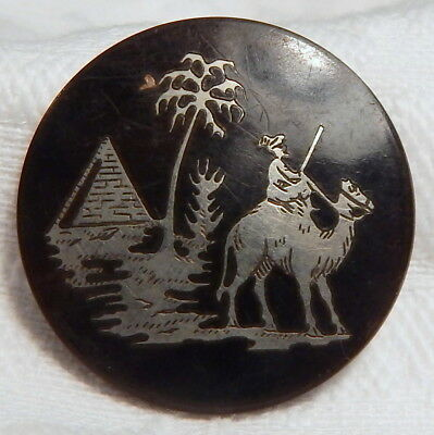 """1"""" ANTIQUE 19th CENTURY HORN BUTTON w/SILVER INLAID EGYPTIAN PYRAMID+CAMEL SCENE"""