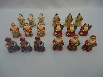 "HALLMARK ""Santas from Around World"" 3 Sets of 6 Miniature Ornaments 18 total"