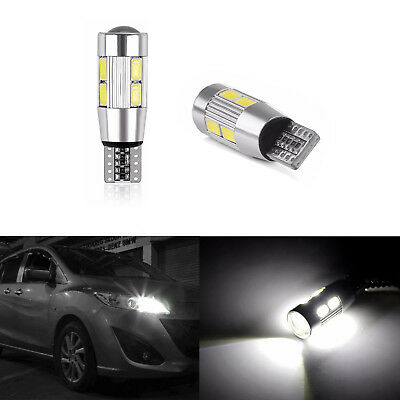 2X T10 Car Side Light Bulb Canbus Error Free Xenon White 10LED SMD 501 W5W WEDGE