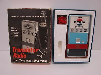 "Rare ""Say Pepsi Please"" Transistor Radio: Made famous by The Beatles 1963 Vtg"