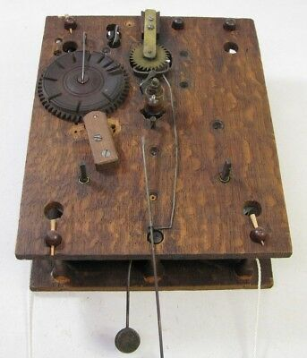 Antique Beck Havaon Co St Louis Wooden Works Weight Driven Clock Movement Parts