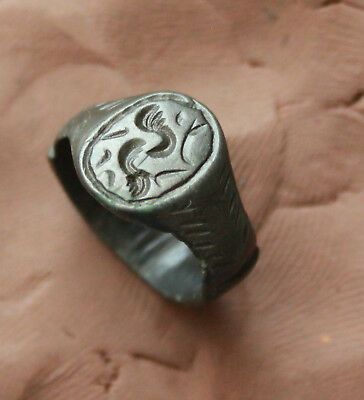 Ancient Roman Bronze  Intaglio Seal Ring D Size-16mm 5gm Quality