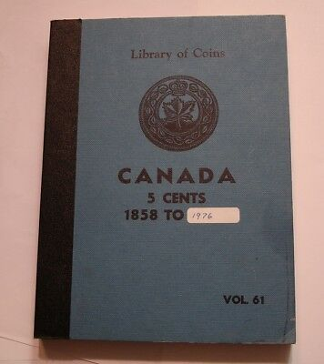 55 piece Five Cent of Canada Set 1922 to 1976 in Library of Coins Vol 61 Album