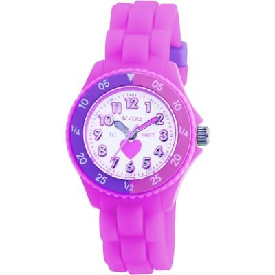 Girls Pink Time Teacher Watch-Tikkers Heart/white Dial/silicone Straps Xmas Gift