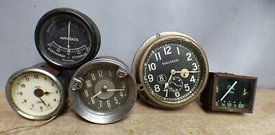 A Selection Of Vintage Car Clocks And Gauges To Include,waltham,smiths,jaeger