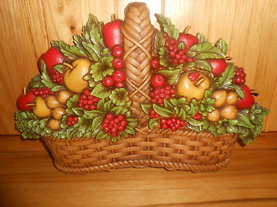 Vintage 1978 Homco Syroco Fruit Basket Wall Plaque Apples Berries & Nuts