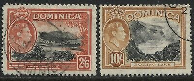 Dominica KGVI 1938  2/6d, & 10/ used
