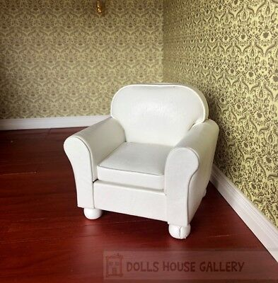Faux White Leather Sofa Chair , Dolls House Miniature, 1:12 Scale
