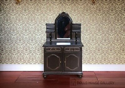 Dark Wood Mirrored Dressing Table, Dolls House Miniature, 1:12 Scale