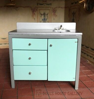Modern Sink Unit Mint Green, Dolls House Miniature, 1:12 Scale, Kitchen