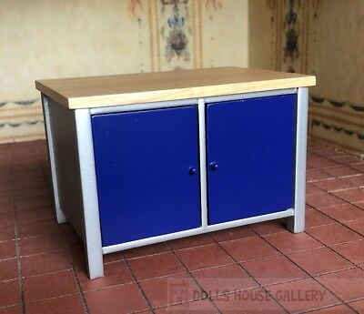 Modern Blue Kitchen Island With Doors On Both Sides, Dolls House Miniature