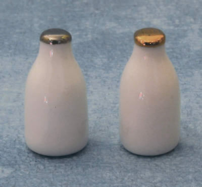 Two Milk Bottles, Dolls House Miniature, 1:12 Scale, Food Drink Miniatures