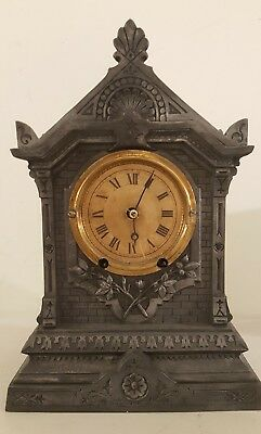 Antique Working Victorian TERRY Clock Co. Gothic Cast Metal Mantel Clock c.1868