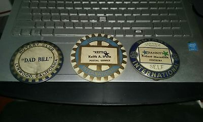 Large Rotary International Button Badge 1950's  LOT OF 3