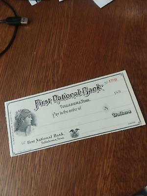 1890's Tullahoma TN Tennessee First National Bank Check Large Victorian Unused