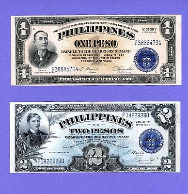 """1944 Philippines  $1 Peso AND $2 PESCS """"Victory"""" NOTES FOR 1 BID HIGH GRADE NOTE"""