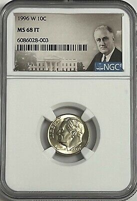 1996 W Roosevelt Dime Ngc Ms68 Ft Full Torch # 21Of 100 Greatest Us Modern Coins