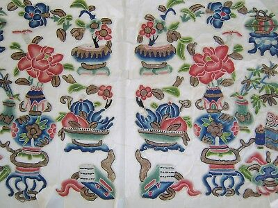 Very Fine Quality Antique Chinese Silk Panel Signed Rank Badge Interest