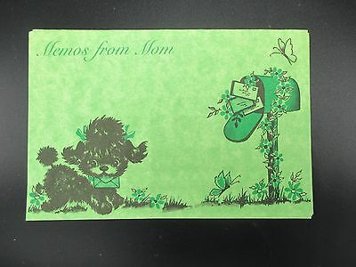 Vintage Dog Note Cards Envelopes Memos From Mom Green Set of 10 Flowers Bird