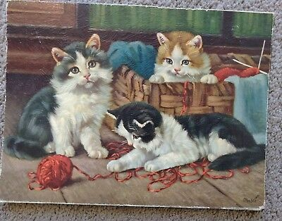 Vintage 50s 60s Canvas Textured Kitten Art Print Mounted to Board 3 Kittens
