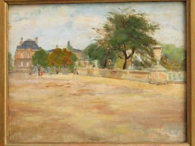19th CENTURY FRENCH IMPRESSIONIST STREET VIEW FIGURES Antique Oil Painting