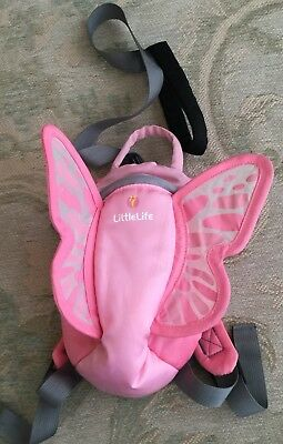 LittleLife Pink Butterfly Fairy Reins Backpack. Great Condition