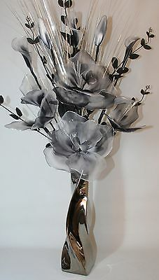Artificial Flowers Large Black White Nylon Arrangement Silver Twist  Vase 95cm.