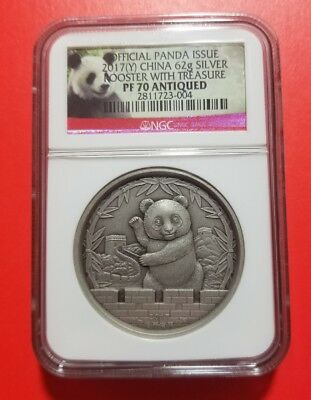 2017 2oz China Panda Lunar Rooster Antiqued NGC PF70 Mintage only99 Silver Medal