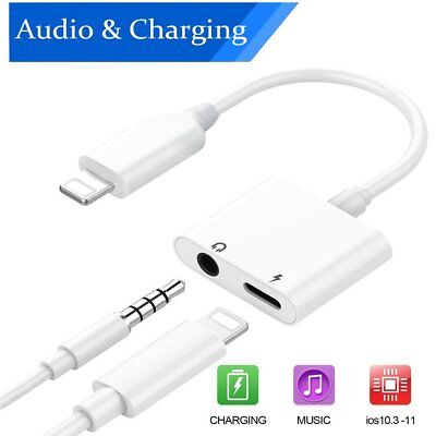 2 in 1 iPhone Splitter Lightning Charger Adapter 3.5mm AUX Audio Earphone 7 8 X