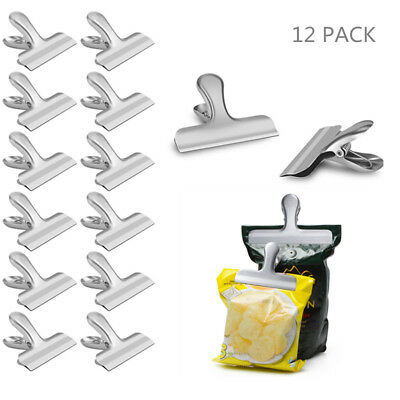 12PCS Sealing Clip Stainless Steel Sealer Clamp for Kitchen Food Storage Bags