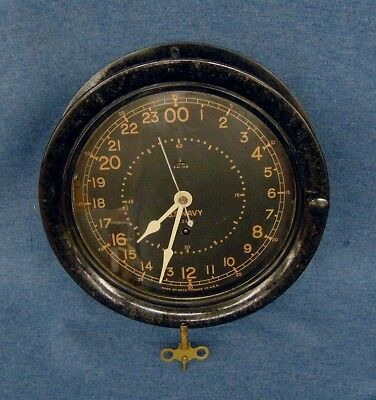Seth Thomas WWII Navy Ship's Clock 24 Hour Bakelite Wall Clock For Repair