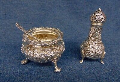 Kirk Stieff Sterling Rose Repousse Pepper Tower Salt Cellar & Spoon Macdonald 3p