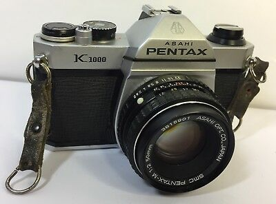 Asahi Pentax K1000 Slr Camera With Pentax 50Mm Lens