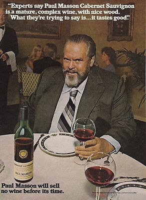 1981 Paul Masson Orson Welles Original Magazine Photo Vintage Print Ad Rare