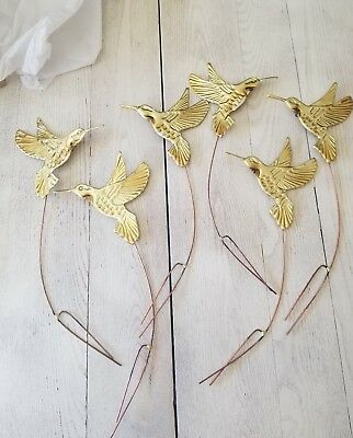 6 Vintage Home Interior/Homco Hummingbird Wall Hanging Plaques Gold